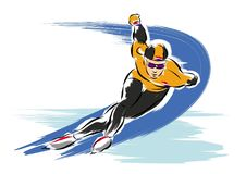 Ice speed skater olympic games. A vector illustration of anime speed skater at the olympic games Stock Photos