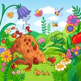 Vector illustration with an anthill and insects. Royalty Free Stock Photography