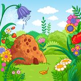 Vector illustration with an anthill and plants. Royalty Free Stock Photo