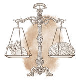 Vector illustration antique ornate balance scales with a heart and a brain on cups. Logic and emotion priority concept. Even odds, being in balance Royalty Free Stock Photography