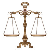 Vector illustration antique ornate balance scales on white background. Justice and making decision concept. Even odds, being in balance vector illustration