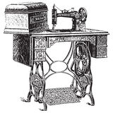 Vector illustration of antique sewing machine vector illustration