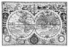 Vector Illustration Antique world map