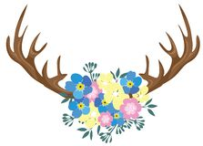 Vector Floral Antlers Isolated on White Background vector illustration