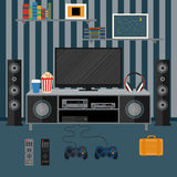 Vector illustration apartment with a home cinema. Illustration f Stock Photos