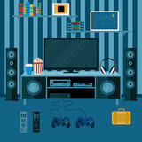Vector illustration apartment with a home cinema. Illustration flat TV Royalty Free Stock Image