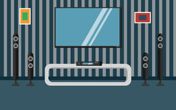 Vector illustration apartment with a home cinema. Illustration flat TV Royalty Free Stock Images