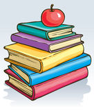 Vector illustration. Apple on books Stock Photos
