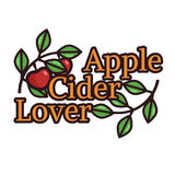 Vector illustration with apple branches. And `Cider Lover` text Royalty Free Stock Image