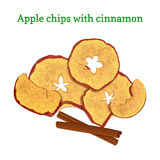 Vector illustration of apples dried fruits. Slices apple chips baked delicious sprinkled with ground cinnamon. Vector illustration of apples dried fruits. Slices stock illustration