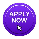 Apply now button. Vector illustration of apply now violet button web icon on white background royalty free illustration