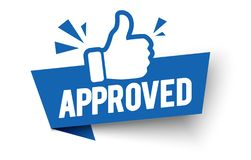 Free Vector Illustration Approved Label Flag With Thumbs Up Icon. Stock Images - 158738864