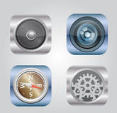 Vector illustration of apps icon. Set of 4 vector icons. Camera, compass, gearbox, audio Stock Photo