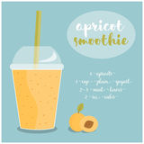 Vector illustration of Apricot Smoothie recipe with ingredients. Royalty Free Stock Images