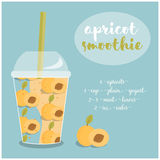 Vector illustration of Apricot Smoothie recipe with ingredients. Template for restaurant or cafe menu.Smoothie ,Smoothie recipe,Smoothie glass,Smoothie vector Stock Photo