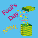 Vector illustration 1 April. Fools Day. 1 April Fools Day funny box Stock Images