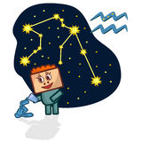 Vector illustration of the Aquarius with a rectangular face. Cartoon Zodiac signs. A schematic arrangement of stars in the constellation Aquarius Stock Photos