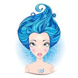 Vector illustration of  Aquarius zodiac sign. Royalty Free Stock Photos