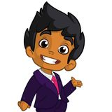 Vector illustration of a arab boy in man`s clothes. Cartoon of a young boy dressed up in a mans business blue suit presenting. Stock Photos