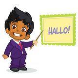 Vector illustration of a arab boy in man`s clothes. Cartoon of a young boy dressed up in a mans business blue suit presenting Royalty Free Stock Image