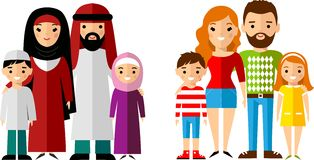 Vector illustration of arab and european families Stock Photography