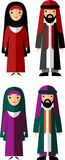 Vector illustration of arab male and female. Set of  arabic male and female dressed in national costumes Stock Image