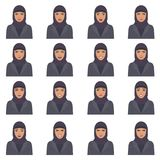 Vector illustration of a arabic face expressions. Set of a different muslim face expression, cartoon arab character, saudi avatar vector illustration