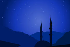 Vector illustration of Arabic night with mosque Stock Photography