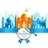 Vector illustration arabic ramadan kareem frame, design celebratory illustration with mosgue stock illustration