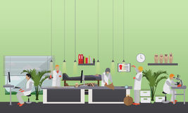 Vector illustration of archaeological laboratory, people at work and equipment Stock Images