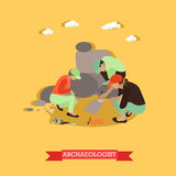 Vector illustration of archaeologists in Egypt in flat style Stock Photography
