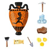 Vector design of archaeology  and historical icon. Collection of archaeology  and excavation stock symbol for web. Vector illustration of archaeology  and stock illustration