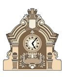 Big clock. Vector illustration of an architectural element, file EPS 8 Royalty Free Stock Photography