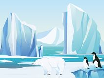 Vector illustration arctic landscape with polar bear and penguins, iceberg and mountains. Cold climate winter background royalty free illustration