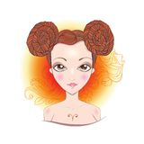Vector illustration of Aries zodiac sign. Illustration of astrological sign of Aries. Beautiful fantasy girl Royalty Free Stock Images