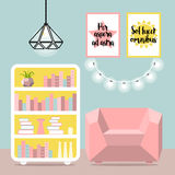 Vector illustration with armchair, luminaire, lamp and commode. In flat style. Poster with latin quotes royalty free stock photo