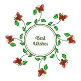 Vector illustration art of flower frame with butterfly for writing best wishes vector illustration