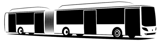 Vector illustration of an articulated city bus with three doors stock images