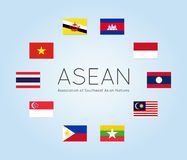 Vector illustration of ASEAN countries flags, flat style Stock Images