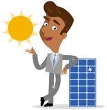 Vector illustration of an asian cartoon businessman leaning on solar panel with sun. Isolated on white background Royalty Free Stock Photography