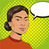 Vector Illustration of asian woman in retro pop art style Stock Photography