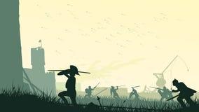Vector illustration of assault of medieval castle. royalty free illustration