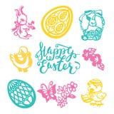 Vintage Easter Paper Cut Filligree Set. A vector illustration of 9 assorted easter theme vintage paper cut designs like happy easter phrase, easter eggs, easter royalty free illustration
