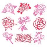 Vintage Rose Filigree Paper Cut Set. A vector illustration of 9 assorted roses vintage roses filigree paper cut set stock illustration