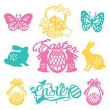 Vintage Paper Cut Silhouette Easter Filligree Set. A vector illustration of 9 assorted vintage paper cut silhouette easter filigree set like easter phrases vector illustration
