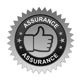 Assurance label. Vector illustration of assurance label with thumbs up sign. stamp or seal on isolated white background stock illustration