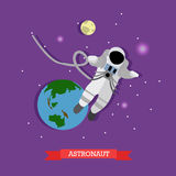 Vector illustration of astronaut in outer space, Earth and Moon Stock Photos