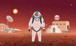 Vector illustration of astronaut in spacesuit standing at colony on planet. Vector illustration of astronaut in spacesuit standing at colony on planet Royalty Free Stock Photo