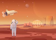 Vector illustration of astronaut standing at Mars colony and looking at flying spaceship. stock image
