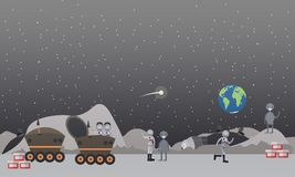 Moon exploration concept flat vector illustration. Vector illustration of astronauts walking on the Moon surface with aliens, working at lunar roving vehicle stock illustration